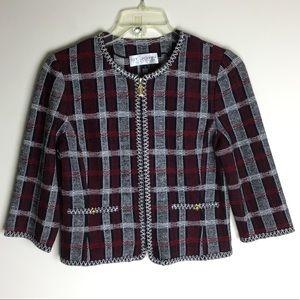 {St. John Collection} Plaid Zip Jacket Size 8
